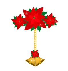 Golden Bell and Poinsettia Flowers with Bows vector image