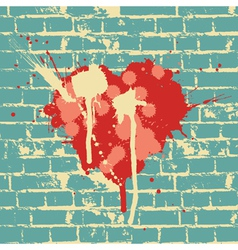 Heart symbol on brick wall vector