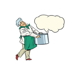 Italian or french chef holding a hot pot cloud of vector