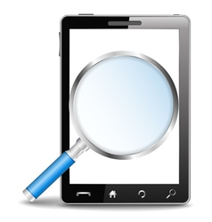Mobile phone with magnifying glass vector image
