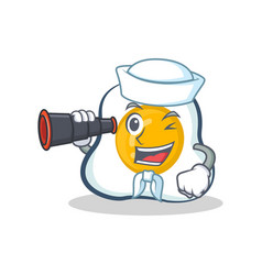 Sailor fried egg character cartoon with binocular vector