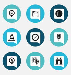 set of 9 editable navigation icons includes vector image vector image