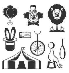 Set of circus isolated icons black and vector