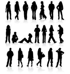 set silhouettes man and women vector image vector image