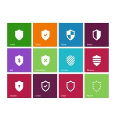 Shield icons on color background vector image vector image