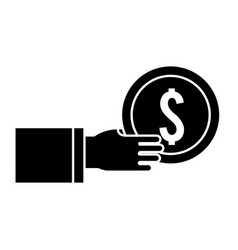 Silhouette coins money in the hand vector
