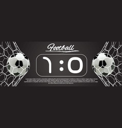 Soccer or football ball in the net vector