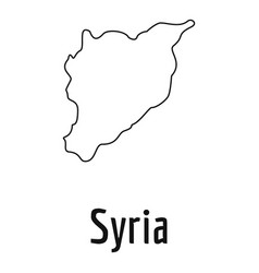 Syria map thin line simple vector