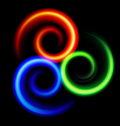 three an abstract colorful swirls on black vector image vector image
