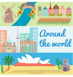 Traveling around the world Holland Berlin Australi vector image vector image