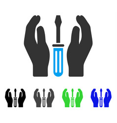 Tuning screwdriver care hands flat icon vector