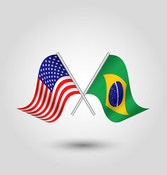 two crossed american and brazilian flags vector image vector image