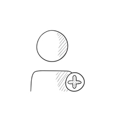 User profile with plus sign sketch icon vector image vector image