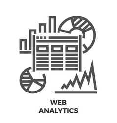 web analytics line icon vector image vector image