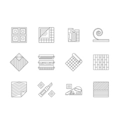 Set of building materials flat line icons vector