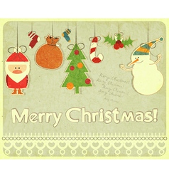 Old christmas postcard vector