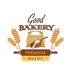 Bakery bread emblem with flour and wheat element vector