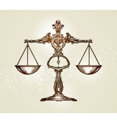 Vintage scales of justice hand-drawn sketch vector