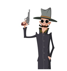 Spy with gun vector