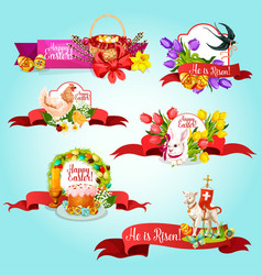 Easter ribbon banner and label for holiday design vector