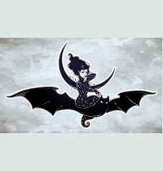 Sexy witch girl flyng on a bat over the moon vector