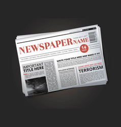 Half of newspaper template with headline vector