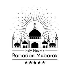 Line art logo design for holy month ramadan kareem vector