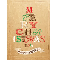 Poster tree christmas happy kraft color vector