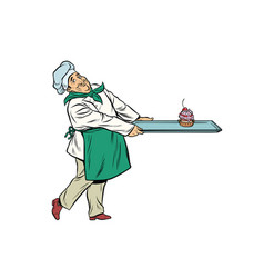 Chef cook brings a tray of dessert cupcake vector