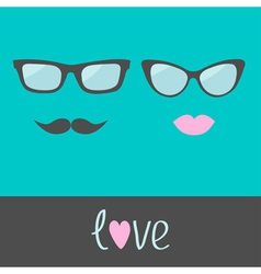 Glasses with lips and moustache flat design vector