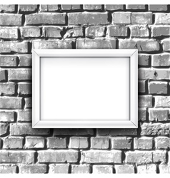 White photo frame on brick wall background with vector
