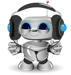 White robot headphones vector