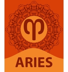 Aries ram zodiac icon with mandala print vector