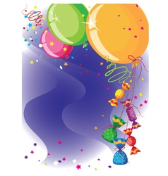 balloons and candy card vector image