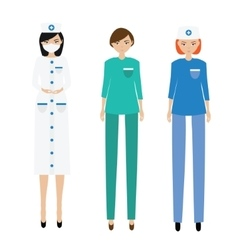 Medical women team nurse paramedic doctor vector