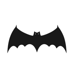 Black silhouette of bat flat icon object vector