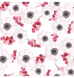 Seamless pattern with anemones and branches of red vector image