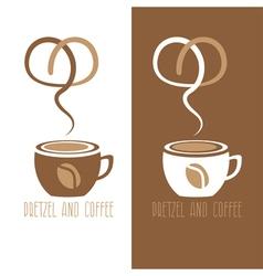 Coffee cup and pretzel design template vector