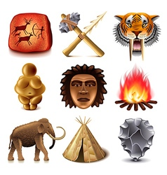 Prehistoric people icons set vector