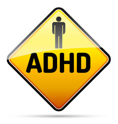 adhd - attention deficit hyperactivity disorder - vector image