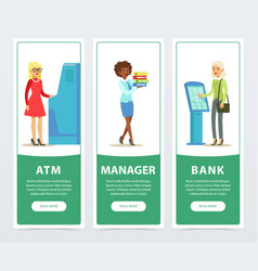 banking service set atm registration and payment vector image vector image
