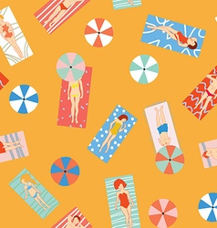 Beach holiday seamless pattern with people vector image