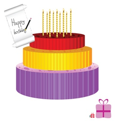 Birthday cake with candle vector