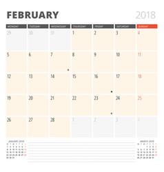 Calendar planner for february 2018 design vector
