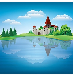 Cartoon drawing castle and a pond vector