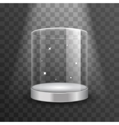 Clean glass showcase podium with spotlight and vector