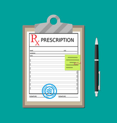 Clipboard with prescription document and pen vector