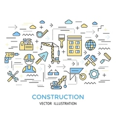 Construction line work background vector