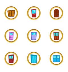 Doorway icons set cartoon style vector