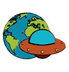 earth with ufo invasion design vector image
